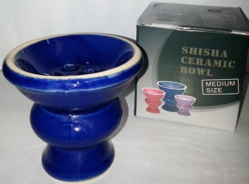 Tonkopf für Chinesische Shishas 7cm - BLAU glasiert