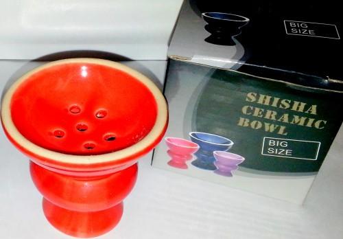 Tonkopf für Chinesische Shisha´s 7 cm - ROT glasiert